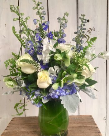 Flowers Online: Blue Sky Vase includes white roses, blue hydrangea, blue hybrid delphinium premium greens and more.