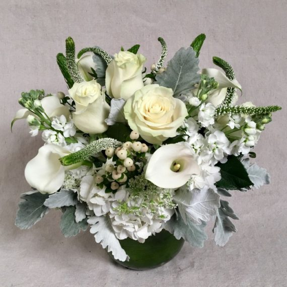 Flowers Online: Linen and Lace vase features rich creams and bright whites accented with textured foliages.