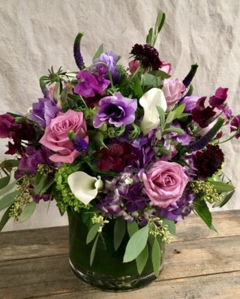 Flowers Online: Amethyst Vase includes purple veronica and scabiosa, white calla lilies, purple and green hydrangea, pink roses, purple anemone with premium greens