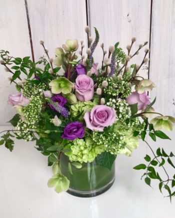 Flowers Online: The Countryside vase includes purple lisianthks, lavender roses, green hydrangea and other premium blooms.