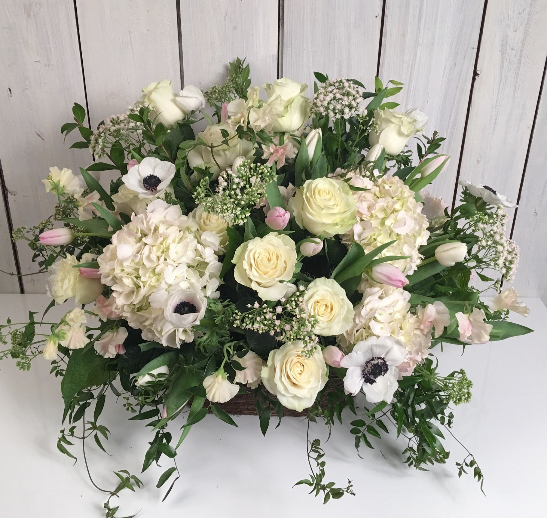 Sympathy Funeral Flowers English Country Basket