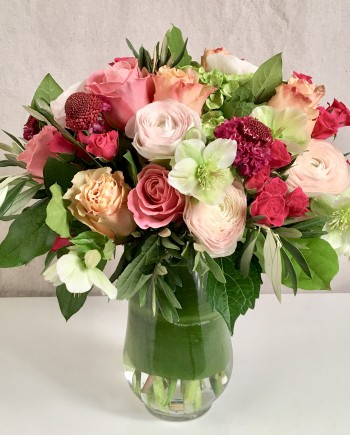Flowers Online: Strawberry Moon is a lush composition of roses, scabiosa and hellebores helleborus accented with rose